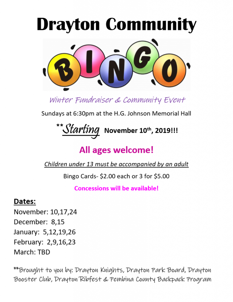 Family Bingo | City of Drayton City, ND