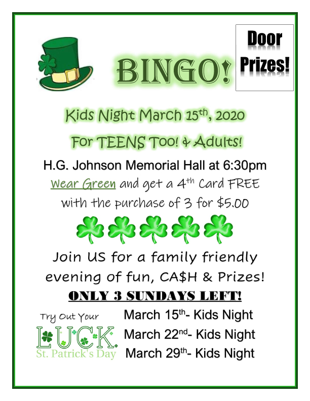 Family Bingo @ HG Johnson Memorial Hall