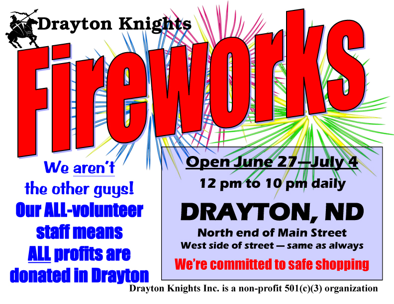 Drayton Knights Fireworks Store open