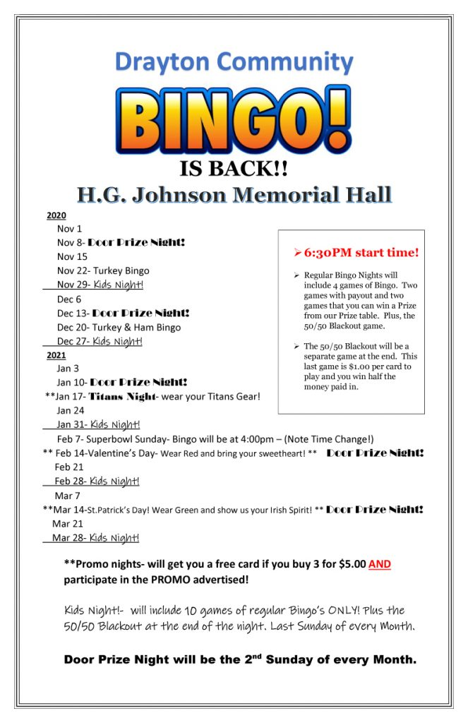 Bingo at HGJ Hall @ H.G. Johnson Memorial Hall