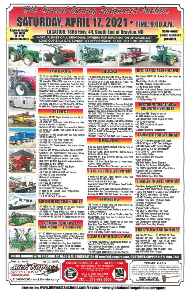 Spring Equipment Auction @ Blawat Construction